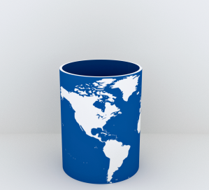 Single cup world blue whit re