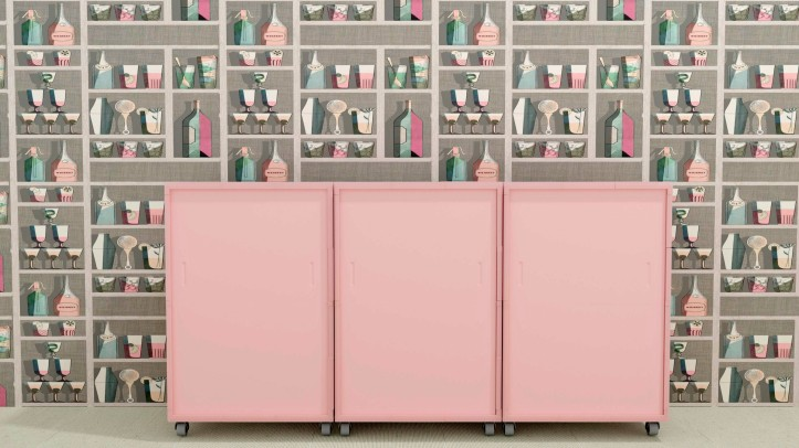 Render of 3D printed cabinet in Rose Quartz