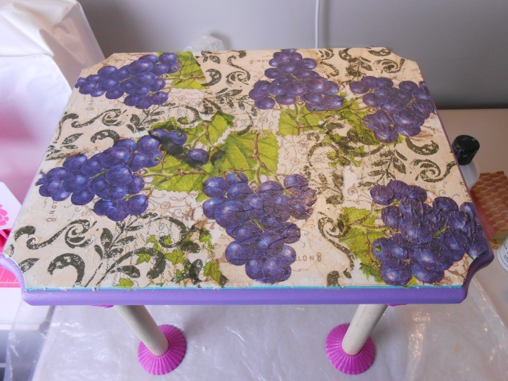 Decoupage after first layer of Mod Podge.